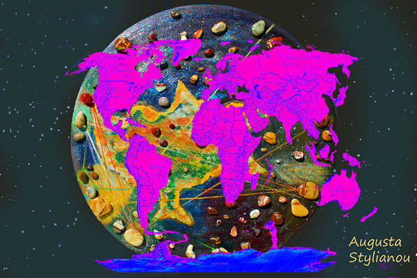Digital Art -  World Map And Cyprus by Augusta Stylianou