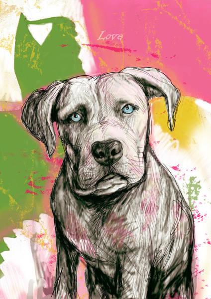 Stylized Drawing - Dog Stylised Pop Modern Art Drawing Sketch Portrait by Kim Wang