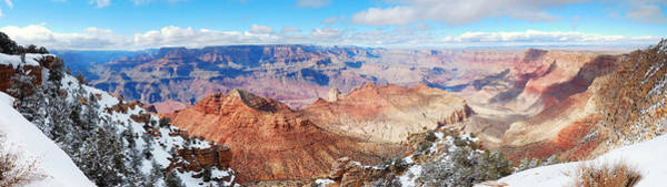 Photograph - Grand Canyon Panorama View In Winter With Snow by Songquan Deng