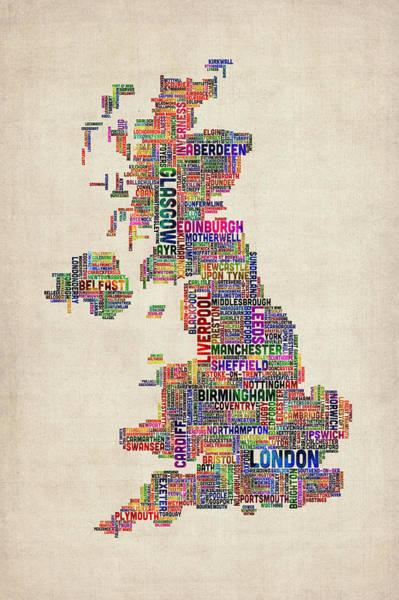 Kingdom Wall Art - Digital Art - Great Britain Uk City Text Map by Michael Tompsett