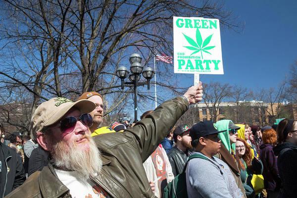 Placard Photograph - Legalisation Of Marijuana Rally by Jim West