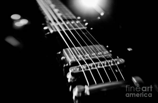 Fret Board Photograph - Les Paul Electric Guitar Black And White Artistic Image  by Jani Bryson