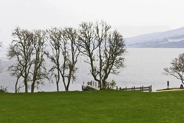 Castles Of Scotland Digital Art - Loch Ness And Boat Jetty Next To Urquhart Castle by Ashish Agarwal