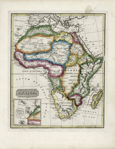 Azores Photograph - Map Of Africa by Library Of Congress, Geography And Map Division