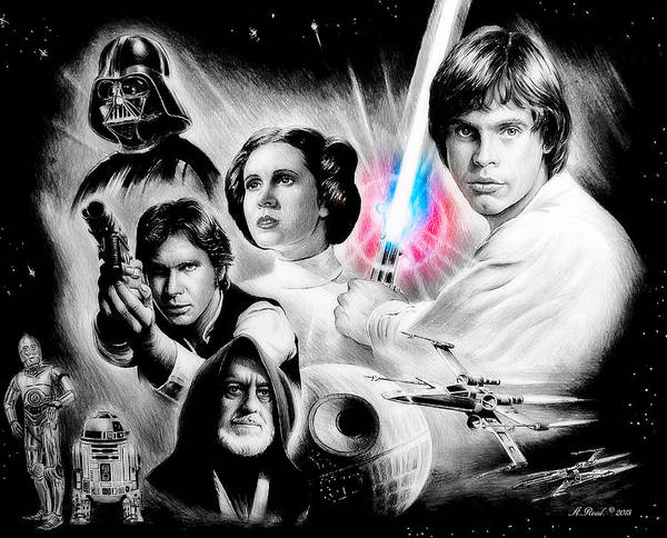 Light Blue Drawing - May The Force Be With You by Andrew Read