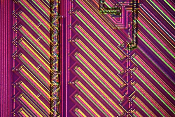 Etched Photograph - Microchip Surface by Frank Fox