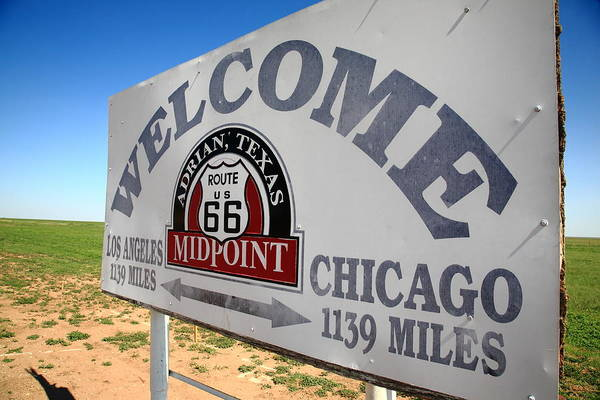 Photograph - Route 66 - Midpoint Sign by Frank Romeo