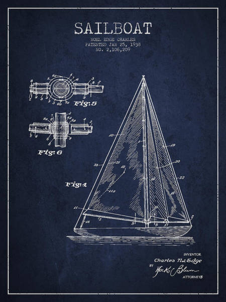 Patent Application Wall Art - Digital Art - Sailboat Patent Drawing From 1938 by Aged Pixel