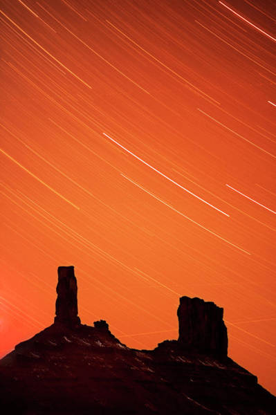 Fisher Towers Photograph - Star Trails by Gustoimages/science Photo Library