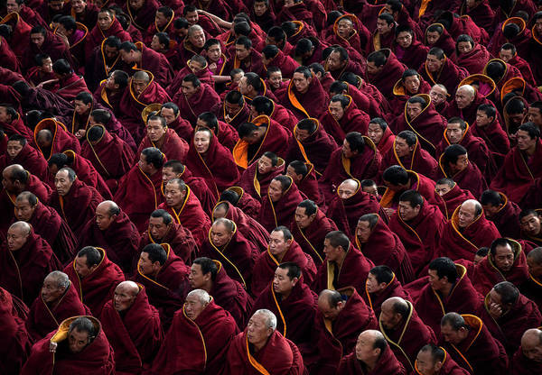 Offbeat Photograph - Tibetan Buddhists Celebrate Religion by Kevin Frayer