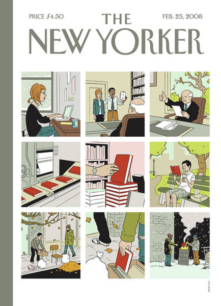 Book Painting - New Yorker February 25th, 2008 by Adrian Tomine