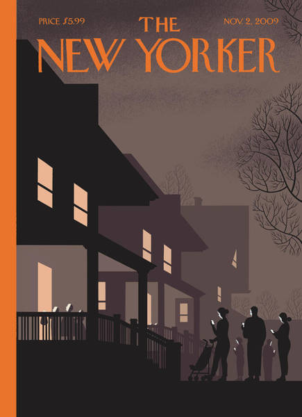 Night Painting - New Yorker November 2nd, 2009 by Chris Ware