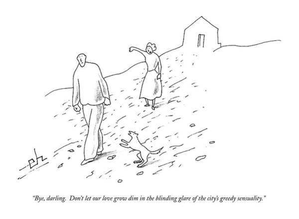 Grow Drawing - Bye, Darling.  Don't Let Our Love Grow Dim by Erik Hilgerdt