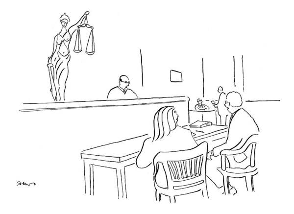 Justice Drawing - I Like To Think That Justice Not Only Is Blind by Michael Shaw