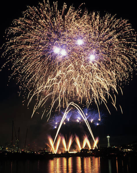 Fourth Of July Photograph - Wa, Seattle, Fireworks On July 4th by Jamie and Judy Wild