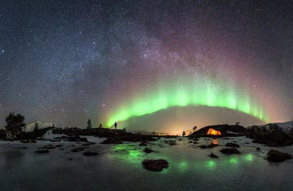 Campsite Wall Art - Photograph - Watching The Aurora Borealis by Tommy Eliassen/science Photo Library