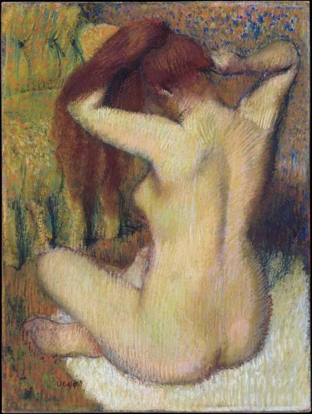Wall Art - Painting - Woman Combing Her Hair by Edgar Degas