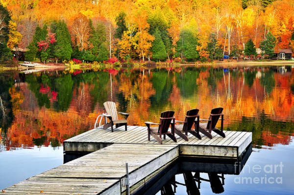 Algonquin Park Photograph - Wooden Dock On Autumn Lake by Elena Elisseeva