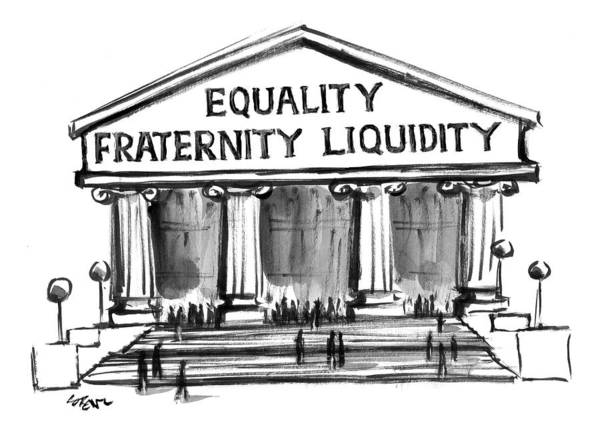 Equality Wall Art - Drawing - Equality, Fraternity, Liquidity by Lee Lorenz