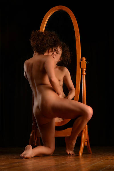 Photograph - 6003 Sensual Nude Kneeling Before Oval Mirror  by Chris Maher