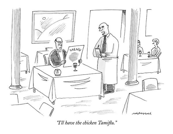 Meal Drawing - I'll Have The Chicken Tamiflu by Mick Stevens