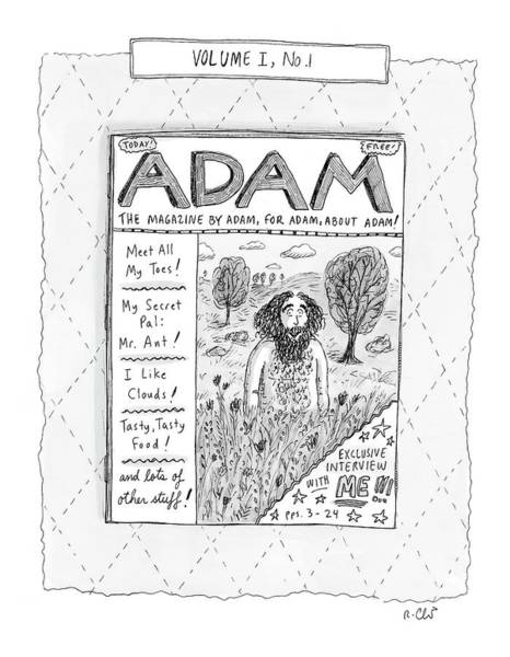 The Creation Of Adam Wall Art - Drawing - New Yorker April 23rd, 2007 by Roz Chast
