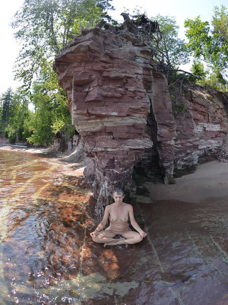 Photograph - 6219 Lake Superior Mature Nude Woman Meditating On The Shore by Chris Maher