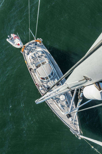 Sailboat Photograph - 62ft Sailboat At Anchor From Top Of Mast by Gary S Chapman
