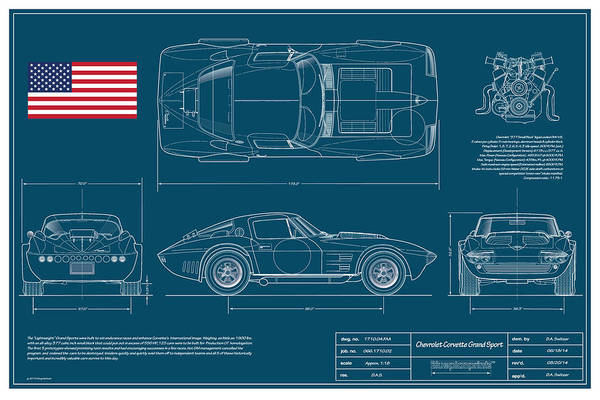 Racer Digital Art - '63 Corvette Grand Sport Blueplanprint by Douglas Switzer
