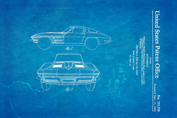 Inventor Photograph - '63 Corvette Stingray Patent Art 1962 Blueprint by Ian Monk