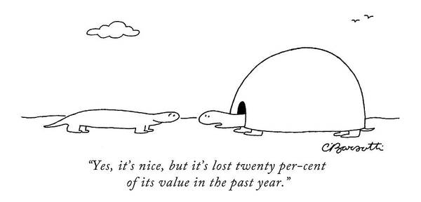 Financial Crisis Wall Art - Drawing - Yes, It's Nice, But It's Lost Twenty Per-cent by Charles Barsotti
