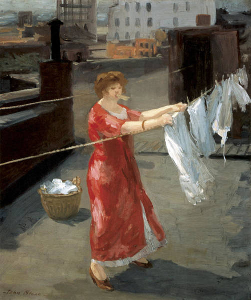 Photograph - Red Kimono On The Roof by John Sloan