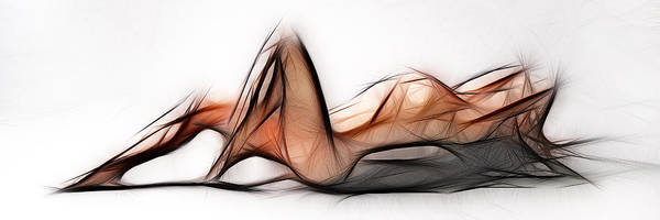 6524 Fractal Nude 1 To 3 Ratio Abstract Signed Chris Maher Art Print