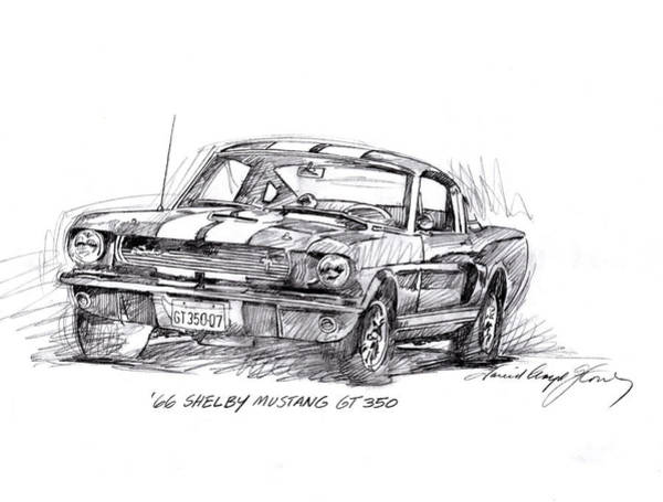 Automobile Drawing - 66 Shelby 350 Gt by David Lloyd Glover