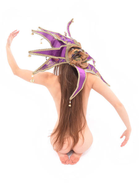 Photograph - 6622 Jester Mask On Beautiful Nude Woman Long Hair  by Chris Maher
