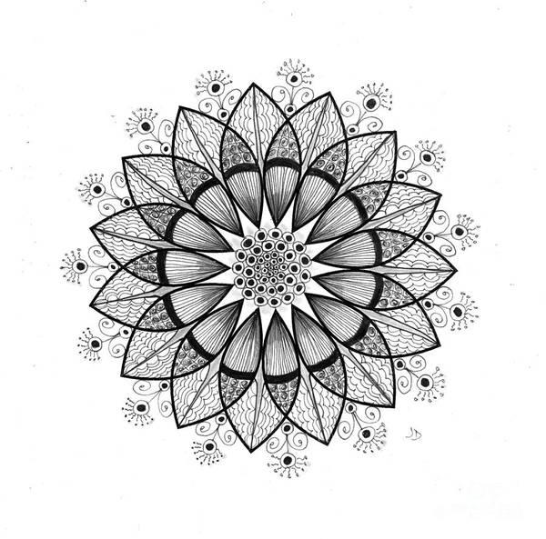 Organic Form Drawing - 7 - 15 Pt Symmetry by Jeaanne Donovan