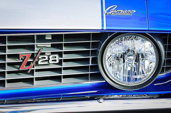 Camaro Wall Art - Photograph - 1969 Chevrolet Camaro Z-28 Grille Emblem by Jill Reger