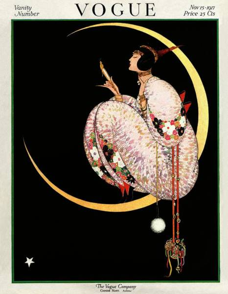Moon Photograph - A Vintage Vogue Magazine Cover Of A Woman by George Wolfe Plank
