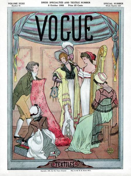 A Vintage Vogue Cover Of Woman Shopping Art Print