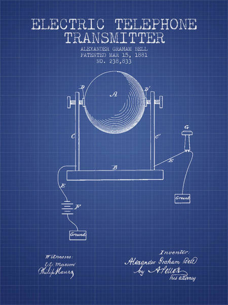 Bell Digital Art - Alexander Graham Bell Electric Telephone Transmitter Patent From by Aged Pixel