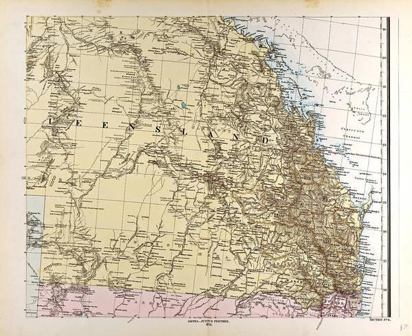 Wall Art - Drawing - Australia Map Gotha Justus Perthes 1872 Atlas by Australian School