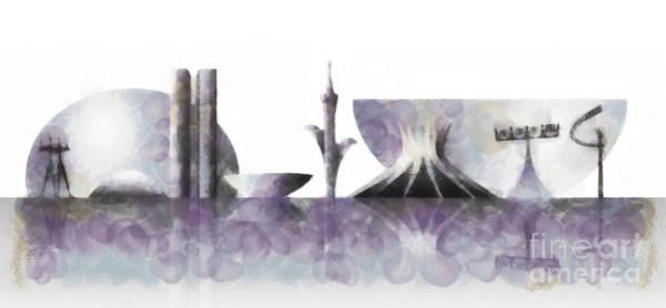 Wall Art - Mixed Media - Brasilia Skyline by Michal Boubin