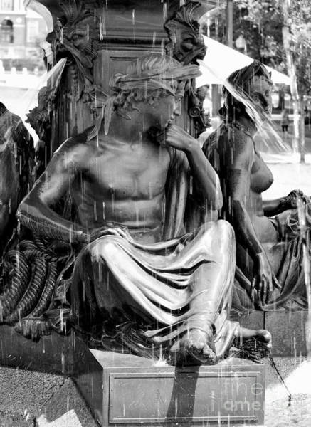 Photograph - Brewer Fountain Boston Ma Black And White by Staci Bigelow