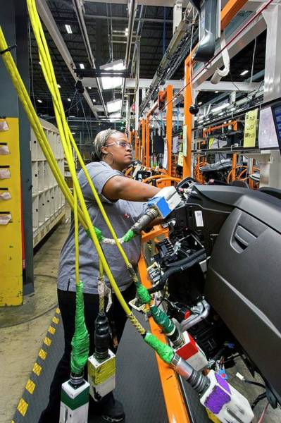 Manufacturing Plant Wall Art - Photograph - Car Dashboard Assembly Line by Jim West