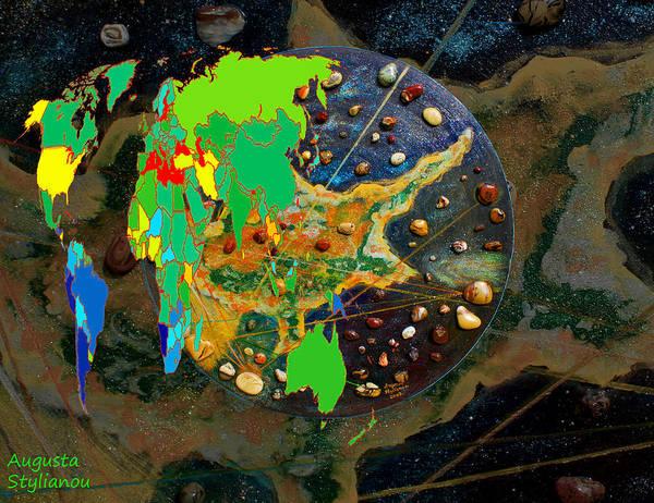 Digital Art - Cyprus And World Map  by Augusta Stylianou