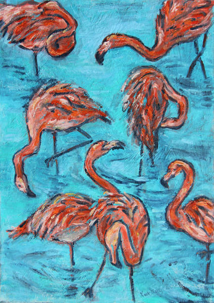 Painting - 7 Flamingos by Xueling Zou