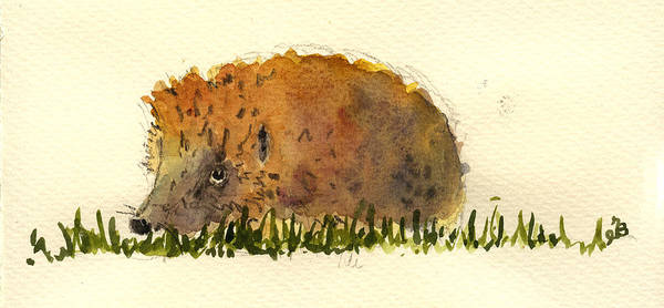 Rodent Wall Art - Painting - Hedgehog by Juan  Bosco