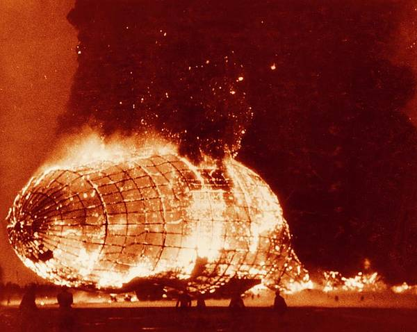 Lakehurst Photograph - Hindenburg Disaster by Us Navy