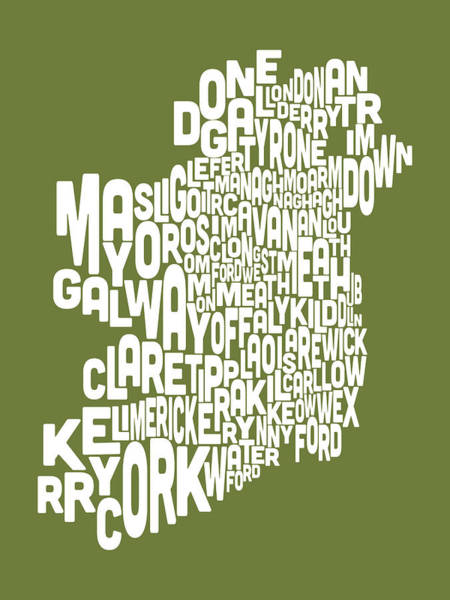 Eire Digital Art - Ireland Eire County Text Map by Michael Tompsett