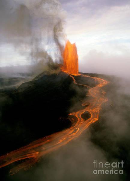 Photograph - Lava Fountain At Kilauea Volcano, Hawaii by Douglas Peebles